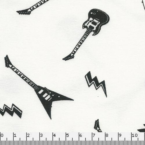 Tissu Jersey 95%cot/5%el guitares fond blanc