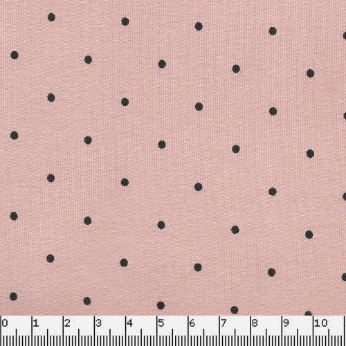 Tissu Jersey 95%cot/5%el pois noir fond rose