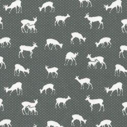 Tissu jersey cerfs fond gris